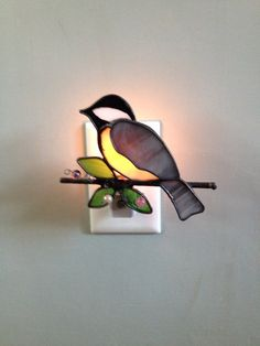 Stained Glass Chickadee Bird Night Light Sun by CraftsbyTine