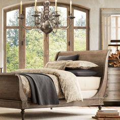 Fancy - Empire Rosette Sleigh Bed with Footboard