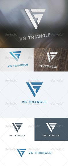 VS Triangle Logo: Letter Logo Design Template by lastspark. Triangle Logo, Triangle Design, Initials Logo, Monogram Logo, Letterhead Design, Brochure Design, Vs Logo, Leaf Logo, Geometric Logo