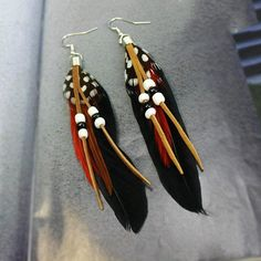 Feather beads big drop earring