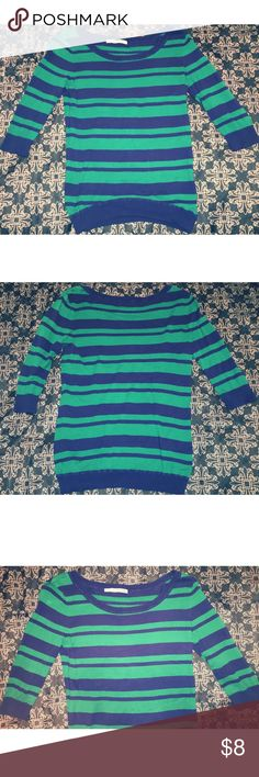 💙Blue & Green Striped Quarter Sleeve Sweater💚 This item is super comfy and cute, can be dressed up or down! Quarter length sleeves, boat neckline! Great shape! Let me know if you have questions!😉 Maurices Sweaters Crew & Scoop Necks