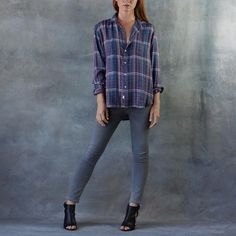 """Frank and Eileen select beautiful fabric from Italy and each collection is sewn in sunny California. The """"Eileen""""cut is a more relaxed fit. This style has a roomy back with no back seam. This easy style pairs perfectly with white bottoms or dark jeans. Lightweight super soft flannel button up is 100% Italian Cotton. Windowpane print in Blue, Red, Green and White. Made in Los Angeles"""