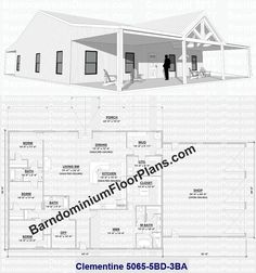 An example of our 3D Exterior Perspective Drawings showing a covered front porch with a gabled front entryway, along with one of our most popular floor plans, the Clementine, a 3250 SQFT, 5 bedroom, 3 bathroom layout with a 1400 SQFT shop. Barndominium Floor Plans   Pole Barn House Plans   Metal Building Homes   Metal Barn Homes   BarndominiumFloorPlans.com