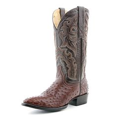 Circle G Brown Full Quill Ostrich Cowboy Boots (Tent Sale!)