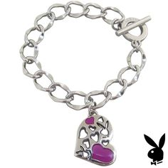 Playboy Bracelet Heart Bunny Charm Pink Enamel Toggle Platinum Plated Gift RARE #Playboy #Playmate