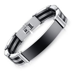 Concise smooth glitter wrist strap Stainless steel and silicone Man's handchain Anti allery