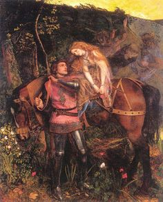 1863 The Beautiful Lady Without Pity — Arthur Hughes Original Title: La Belle Dame Sans Merci 🇬🇧 Nationality: British 1832 - 1915 🇦🇺 Location: National Gallery of Victoria (NGV), Melbourne, Australia Style: Romanticism Genre: literary painting