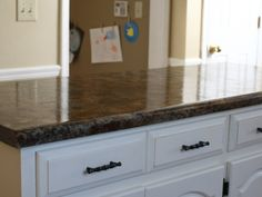Doing this in the kitchen! Redo your laminate kitchen countertops to look just like granite! Kitchen Redo, New Kitchen, Kitchen Remodel, Kitchen Design, Kitchen Ideas, Formica Countertops, Butcher Block Countertops, Painted Countertops, Painting Formica
