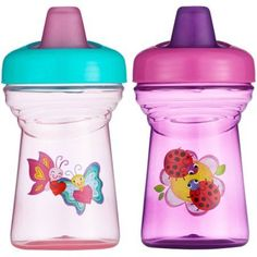 The First Years Spill-Proof Soft Spout Sippy Cup with One Piece Lid, 2pk, Pink/Teal, BPA-Free