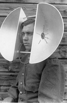 WWII Hear Aid... He looks happy.  My husband needs these. :)