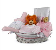 """Canastilla de bebé Noche 2"""" - 125€ (envío incluido a toda la península) Incluye Cesta de mimbre vestida; Osito;  Neceser; Manta polar;  Pijama con cuello m.larga; Body de algodón interior m.corta; 3 perchas forradas en piqué; Doudou para dormir"""