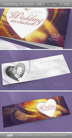 Wedding Invitation — Photoshop PSD #Wedding invitation template #folding • Available here → https://graphicriver.net/item/wedding-invitation/4965718?ref=pxcr