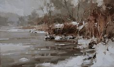 """""""A Whispering Waterside"""" • Tibor Nagy, Slovakia.  Where others might see unappealing, overcast days; Slovakian artist Tibor Nagy sees--and helps us to see--an exquisite beauty."""