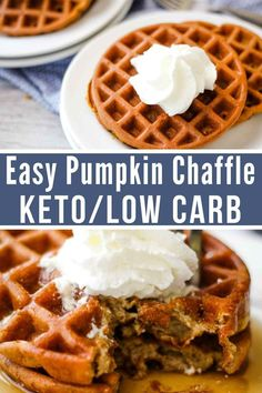 Maple Pumpkin Keto Waffle Recipe Chaffle has the perfect amount of pumpkin spice for an incredible low carb treat. You can enjoy as a dessert or a delicious breakfast that is a fun change of pace from eggs. / keto chaffle recipes / chaffle recipes / keto breakfast recipes / low carb breakfast recipes / #keto #lowcarb