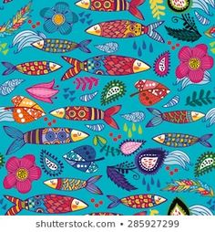 Bright and amazing Portuguese pattern of ornamental sardines and graphic elements. Arte Popular, Portuguese, Kids Rugs, Graphic Design, Bright, Amazing, Pattern, Decor, Animal Illustrations