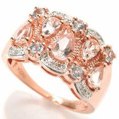 NYC II 1.20ctw Pear Shaped Morganite, Aquamarine & Diamond Ring