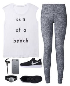 """Wanna go running. Anyone wanna come? "" by graciegirl2015 ❤ liked on Polyvore featuring lululemon, Rebecca Minkoff, NIKE and Monster"
