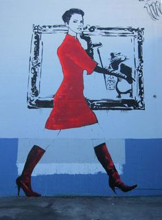 I wonder ---- is street art for sale?    Woman With Banksy Rat