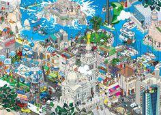 Marseille (see more on http://www.tranchesdunet.com/des-villes-entieres-en-pixel-art/ )