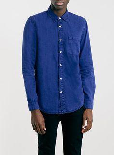 e93636f1073a Topman Blue Acid Wash Long Sleeve Denim Shirt - ShopStyle