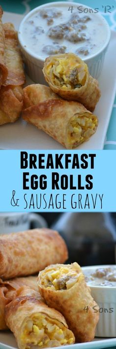breakfast-egg-rolls-sausage-gravy-pin These AM eggrolls have three staple breakfast favorites (sausage, hashbrowns, scrambled eggs) all rolled up in one convenient crunchy package with sausage gravy on the side for dipping. Breakfast Desayunos, Breakfast Items, Breakfast Dishes, Breakfast Casserole, Breakfast Recipes With Eggs, Breakfast Ideas With Eggs, Egg Recipes For Dinner, Breakfast Burritos, Egg Roll Recipes