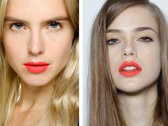 . matte coral lipstick .