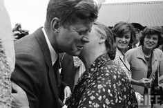 US President John F. Kennedy being kissed by his cousin Mary Ryan while cousins Eunice Shriver (R) and Jean Kennedy Smith (2R) look on during his arrival to visit his ancestral hometown. Location:Dunganstown, Wexford, Ireland Date taken:1963❁❤❁❤❁❤❁❤❁❤❁  http://en.wikipedia.org/wiki/John_F._Kennedy