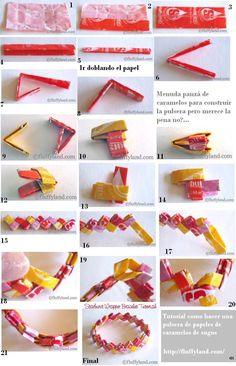 hacer un Brazalete o Pulsera de Origami. Recycled Paper Crafts, Paper Mache Crafts, Newspaper Crafts, Paper Chains, Paper Beads, Crafts To Do, Crafts For Kids, Arts And Crafts, Magazine Crafts