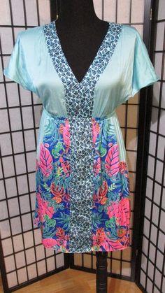LILY PULITZER S FLORAL TROPICS DRESS MINI SUNDRESS EMPIRE MULTI-COLOR BLUE S  #LillyPulitzer #EmpireWaist #versatile