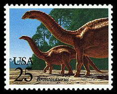 """""""Wait, I'm actually an Apatosaurus? But it says 'Brontosaurus' on my stamp!"""" Copyright United States Postal Service. All rights reserved."""