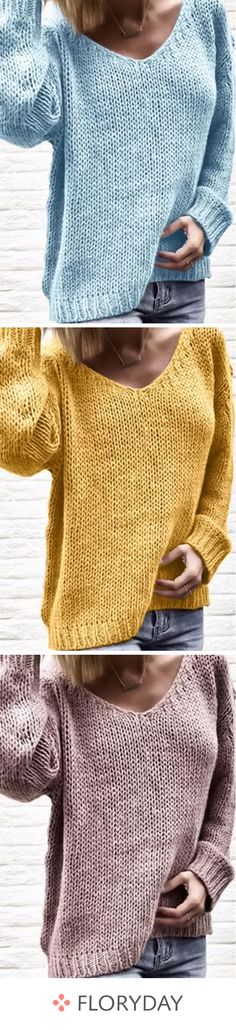 V-Neckline Solid Loose Long Shift Sweaters V-neckline solid long shift sweaters, cozy, daily, basics, outfits. Beginner Knitting Patterns, Sweater Knitting Patterns, Easy Knitting, Knitting For Beginners, Loom Knitting, Knit Patterns, Look Retro, Knit Or Crochet, Crochet Clothes
