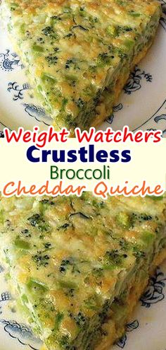 Crustless Broccoli Cheddar Quiche Crustless Broccoli Cheddar Quiche Kristen Marie Weight watchers Oh man I love quiche It s one of my favorite easy nbsp hellip Healthy Recipes, Skinny Recipes, Ww Recipes, Vegetarian Recipes, Cooking Recipes, Vegetarian Quiche, Cooking Ideas, Healthy Food, Recipies
