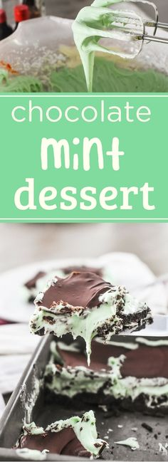 Easy, creamy chocolate mint bars with a chocolate cookie crust, creamy cream cheese filling, and cool chocolate top. A delicious dessert your family will love! via NellieBellie Mint Desserts, Chocolate Desserts, Easy Desserts, Delicious Desserts, Yummy Food, Tasty, Mint Chocolate Chip Cookies, Chocolate Swirl, Chocolate Cake