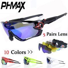 PHMAX Brand Polarized JBR Cycling SunGlasses/Mountain Bike Goggles/5 Lens Cycling Eyewear Bicycle Sunglasses Cycling Glasses ** Khotite dopolnitel'nuyu informatsiyu? Nazhmite na izobrazheniye.