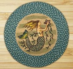 27in. x 27in. Mermaid Braided Round Patch Rug