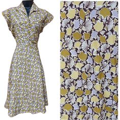 1950s Vintage dress with Ginkgo leaf print on a silky fabric; size Medium. Measurements in inches: Bust 36, waist 28, hip free, length from centerback