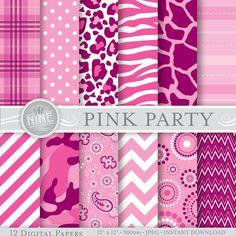 "PINK PARTY Prints Digital Paper Pattern Print, Instant Download, 12"" x 12"" Paper Pack Girl Patterns Scrapbook Print"