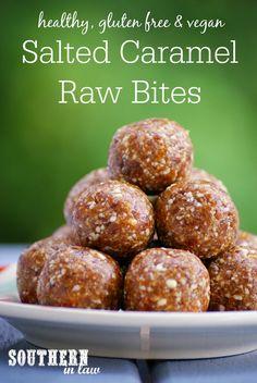 Gluten free salted caramel raw bites recipe - healthy, raw, vegan, gluten f Healthy Sweet Treats, Healthy Sugar, Healthy Sweets, Healthy Snacks, Healthy Baking, Protein Snacks, Eating Healthy, Raw Vegan Recipes, Vegan Snacks