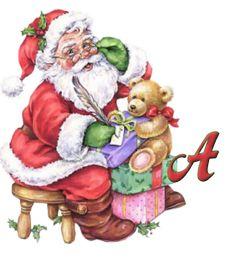 Alfabeto navideño retro de Santa Claus con osito de peluche. | Oh my Alfabetos!