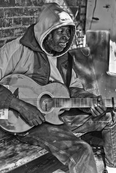 Mr. Tater the Music Maker.  outside of a bar in Clarksdale, Mississippi