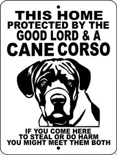 CANE CORSO ALUMINUM DOG SIGN GLCC2
