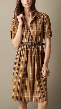 Check Cotton Dress with Leather Belt