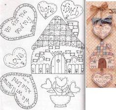 FELTRO diversos - com molde - Feltro da Kátia - Picasa Web Albums...Sweet designs for hanging hearts!