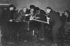 George Maciunas, Dick Higgins, Wolf Vostell, Ben Patterson, and Emmett Williams. Photo Helmut Rekort, Archiv Sohm PIANO ACTIVITIES
