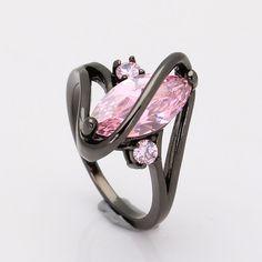2016 de calidad superior negro anillo para mujeres de la Venda de boda de lujo de compromiso joyería piriforme ee.uu. 6-10 Rosa de Circonio Cúbico Anillo de circón