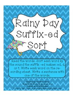 Rainy Day Suffix -ed Sort for use with Words Their Way Syllables and Affixes Sort 66
