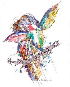 Colourful Rainforest Bird Watercolor Art Drawing