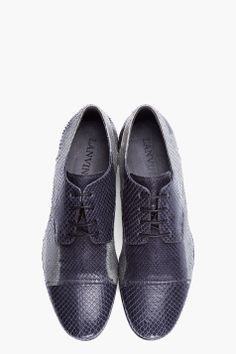 LANVIN grey batik python oxford shoes