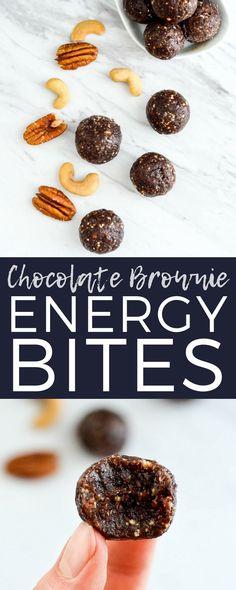 Paleo Chocolate Brownie Energy Bites Recipe! 5 minutes and 8 ingredients is all it takes to make this healthy snack! Vegan, gluten-free, dairy-free & date sweetened! #energybites #energyballs #healthysnack #paleo #vegan #glutenfree #grainfree #sugarfree #dairyfree #chocolate via @joyfoodsunshine