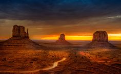 "Magnificent Monument Valley is one of the most iconic and enduring landmarks of the American ""Wild West."" Monument Valley Navajo Tribal Park has isolated red mesas, buttes and a sprawl… Arches Nationalpark, Yellowstone Nationalpark, The Places Youll Go, Places To See, Places To Travel, Monument Valley, Valley Park, New Mexico, Beautiful World"